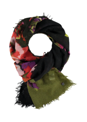 FRAAS Optical Floral Wool Scarf Khaki