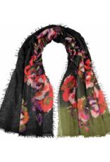 FRAAS Optical Floral Wool Scarf Khaki