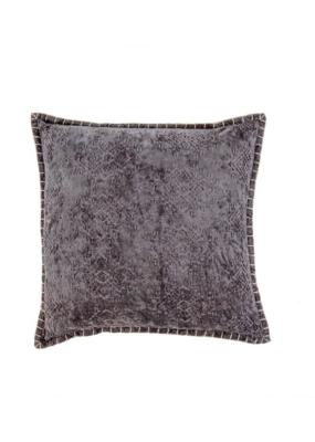 Velvet Jacquard Cushion Grey  20 x 20