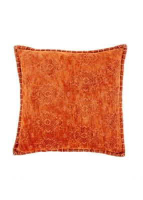Velvet Jacquard Cushion Rust 20 x 20
