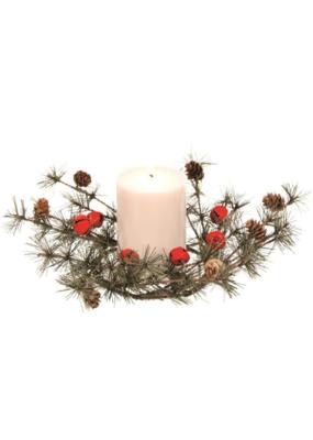 Wreath with Pinecones & Red Bells