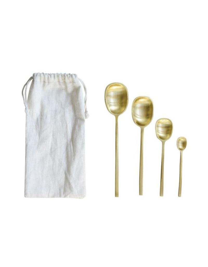 Brass Spoon Set (4) in Drawstring Bag