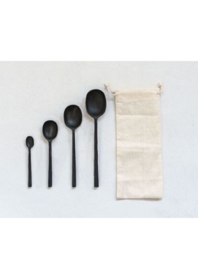 Set of 4 Black Cast Alum. Spoons