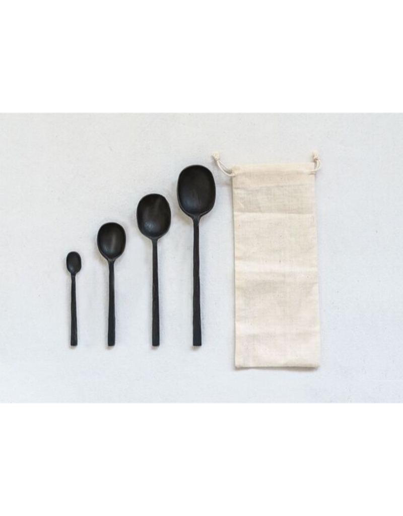 Set of 4 Black Cast Alum. Spoons