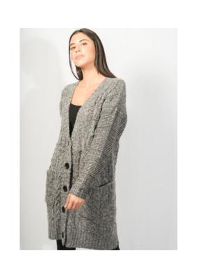 Lyla & Luxe Cindy Knit Cardigan W/Plaid Sleeves, Dk Grey