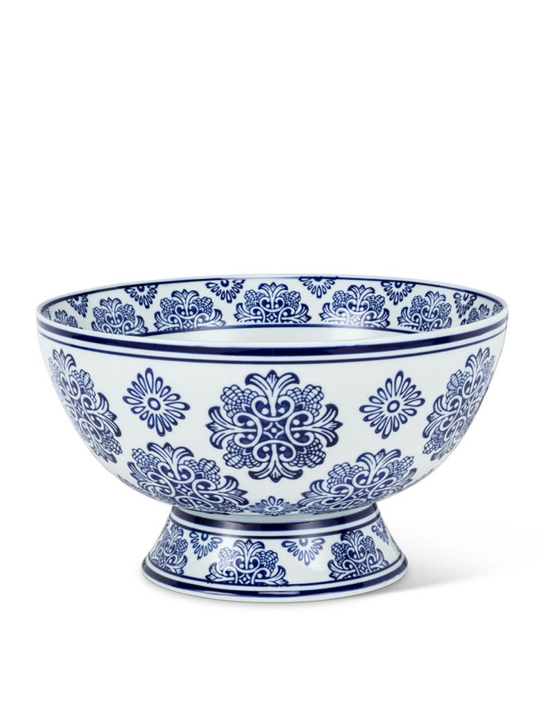 Large Blue and White Pedestal Bowl