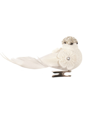 White Bird with Beads Ornament