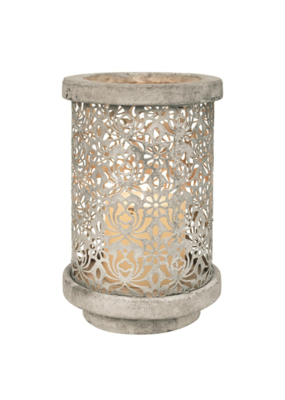 Silver Stone Hurricane Candleholder