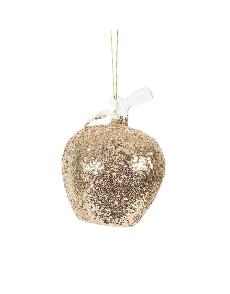 Apple Ornament with Gold Glitter
