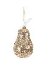 Pear Ornament with Gold Glitter