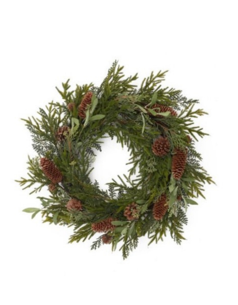 Wreath with Cedar and Pinecones