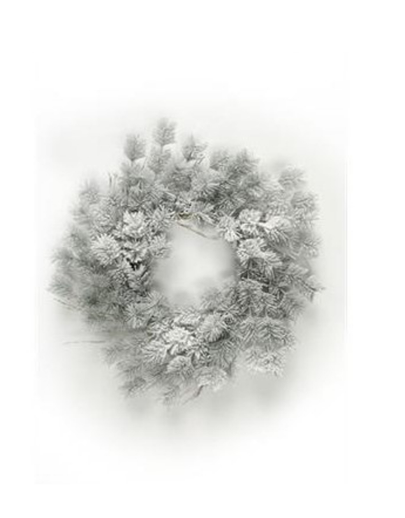 "24"" Wreath with Snow"