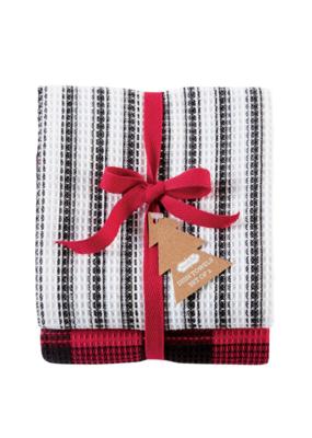 Black Stripe Buffalo Towel Set