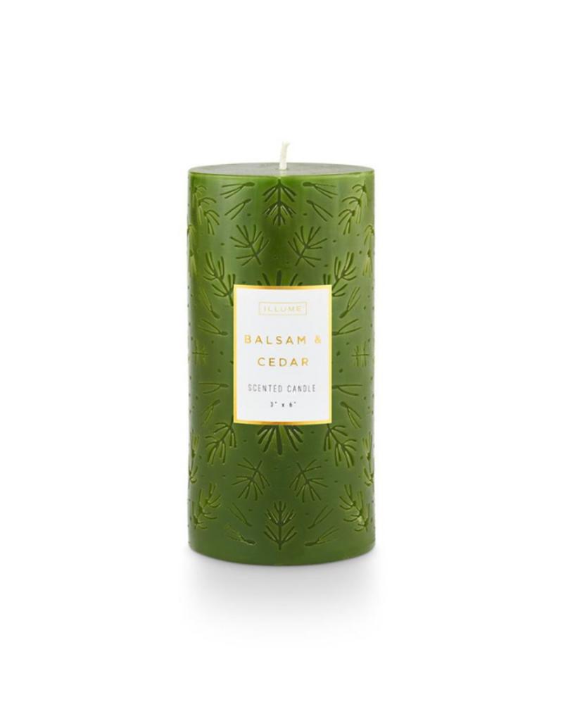 Illume Balsam & Cedar Etched Pillar 3x6