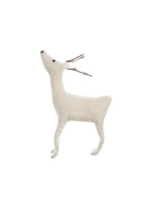 White Felt Deer with Twig Antler