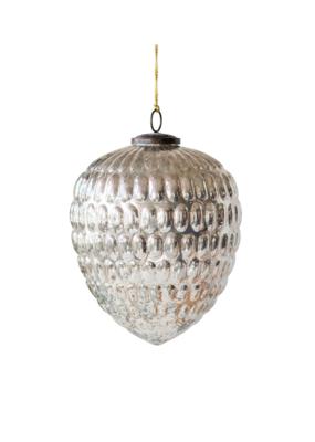 Mercury Glass Cone Ornament, Ant. Silver