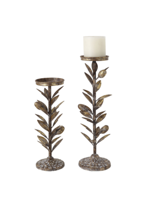 Olive Leaf Metal Candle Holder