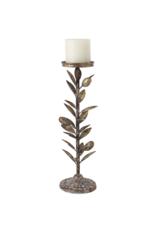 Olive Leaf Metal Candle Holder