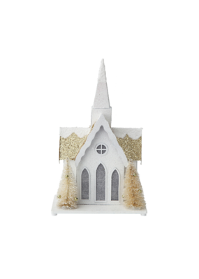 Paper Church with Trees & LED light