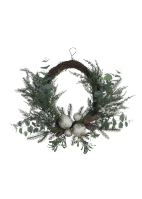 Pine Wreath W/Eucalyptus, Birch Balls