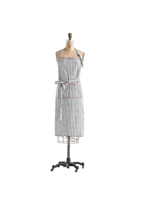 Cotton Apron Black Stripes with Red Stitching