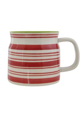 Red Stripe Stoneware Mug Green Rim