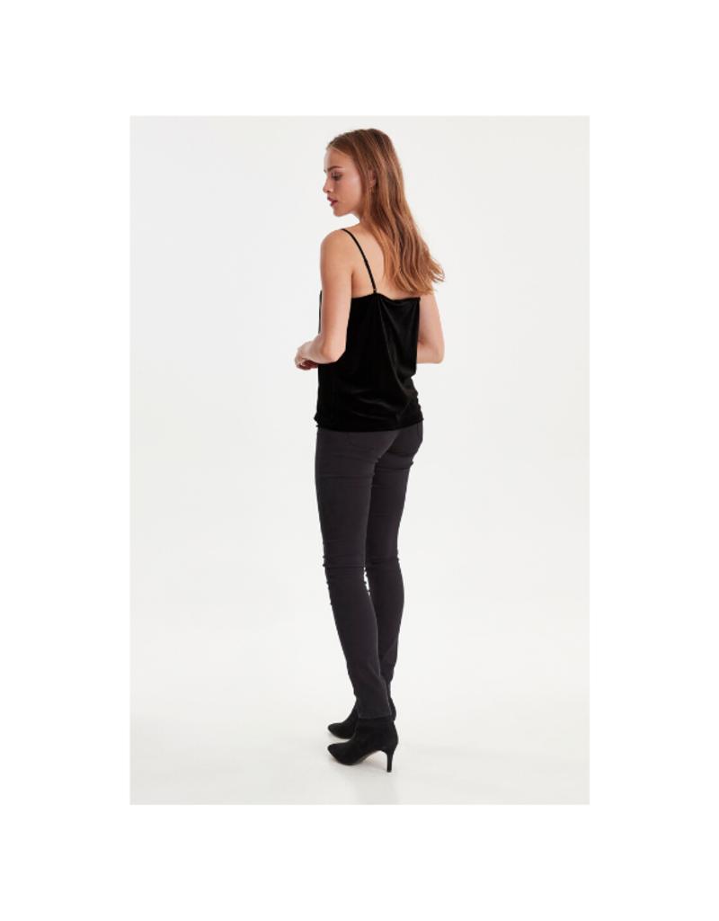 ICHI ICHI Velvet Cami Top in Black