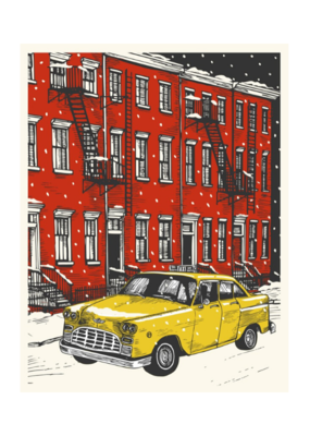 The Good Days Print Co. Snowy Taxi Card by The Good Days Print Co.