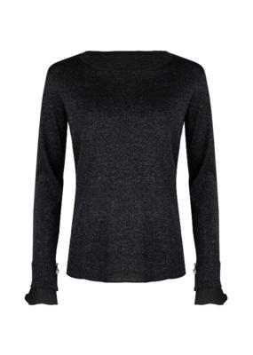 Esqualo Lurex Plisse Sweater Black