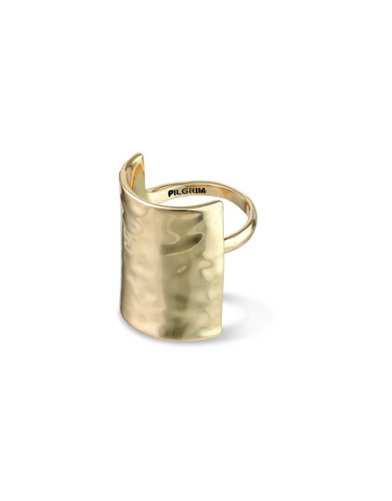 PILGRIM Pilgrim Yggdrasil Hammered Ring in Gold