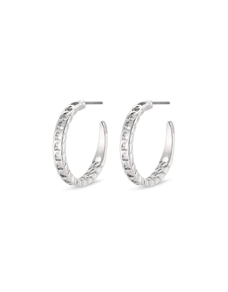 PILGRIM Pilgrim Yggdrasil Chain Hoop Earrings in Silver