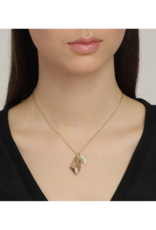 PILGRIM Pilgrim Skuld Grey Glass Pendant Necklace in Gold
