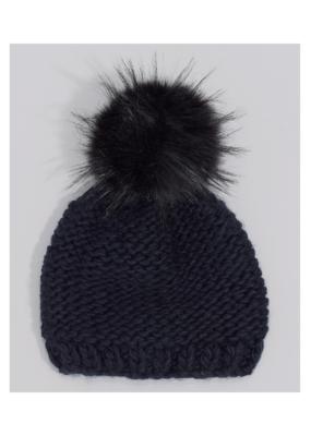 Echo Knit Beanie with Faux Fur Pom Black