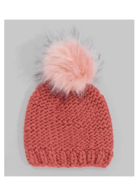 Echo Knit Beanie with Faux Fur Pom Rose Gold