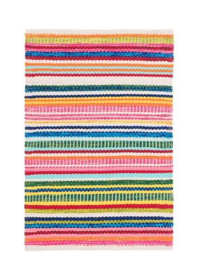Dash & Albert Dash & Albert Cotton Rug 2x3 Bright Stripe Indoor/Outdoor
