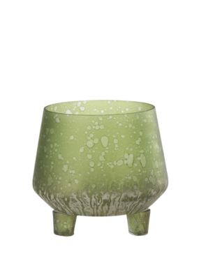 Glass Candleholder Light Green Short