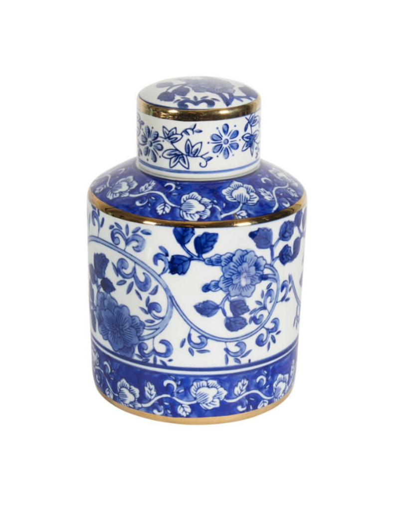Elsie Blue & White Ginger Jar with Gold Accents Blue & White Ginger Jar with Gold Accents