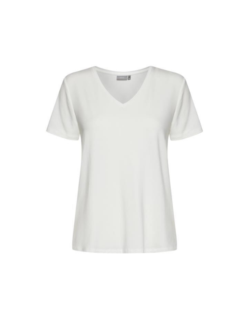 b.young b.young Rexima V-Neck Jersey Tee in Off-White