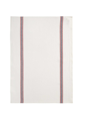 Charvet French Linen Teatowel in Natural with Red & Blue Stripes