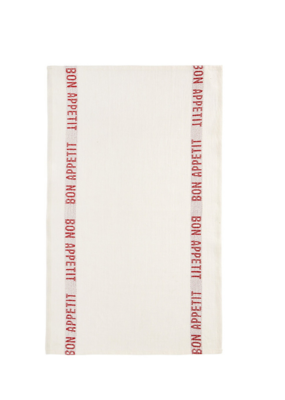 Charvet French Linen Bon Appetit Teatowel in White & Red