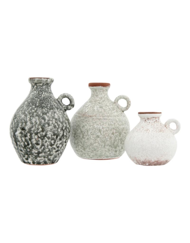 Stoneware Vase with Reactive Glaze Grey