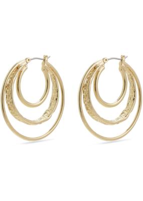 PILGRIM Pilgrim Valkyria Triple Hoop Earrings Gold