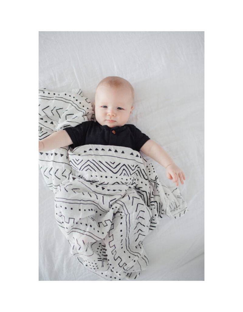 LouLou Lollipop LL Muslin Swaddle  Mudcloth White