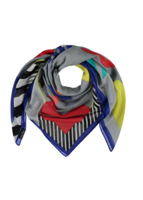 Fraas Oversized Silk & Cotton Scarf in Graphic Love Mid-Grey