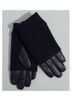 Echo Fold Down Cuff Glove in Black Leather with Black Size Large