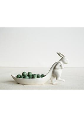 Stoneware Rabbit Pulling Leaf Dish