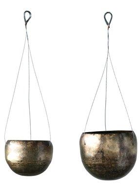 Large Metal Hanging Planter Antique Brass