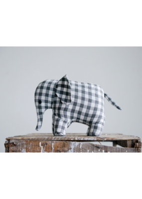 Cotton Elephant Doorstop Grey Gingham