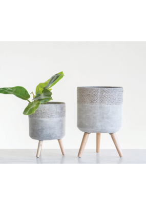 Small Round Cement Planter on Legs