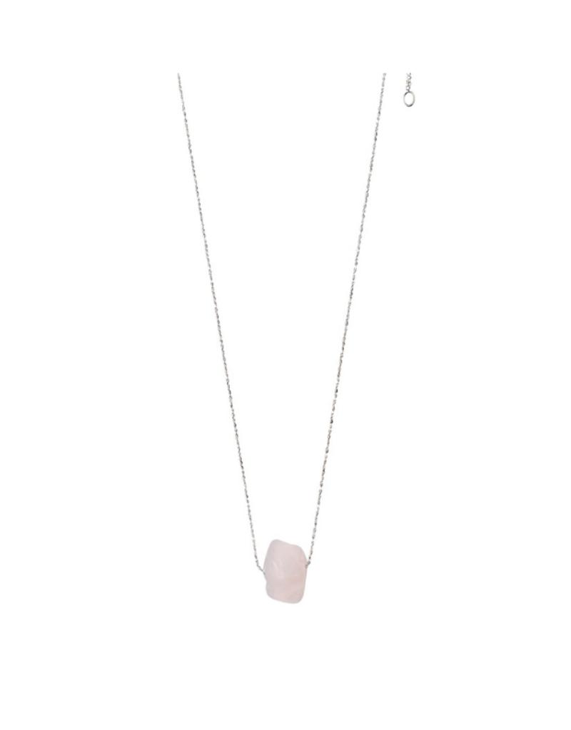 PILGRIM Pilgrim Necklace Silver Heart Chakra Rose Quartz